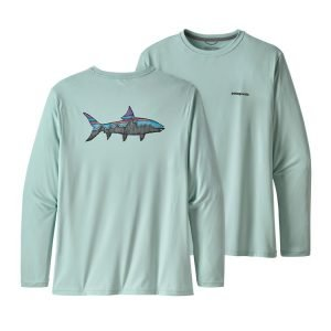 Patagonia Long-Sleeved Capilene® Cool Daily Fish Graphic Shirt in Bonefish color